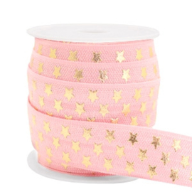 Elastisch lint stars pattern Vintage-gold 50 cm