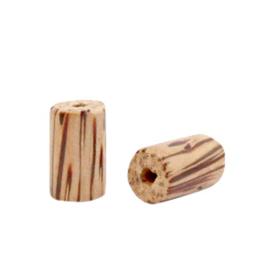 Houten kralen 10mm tube Teak brown 69871 per 10 stuks