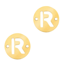 Bedel van  (RVS) 10mm initial coin R Goud tussenzetsel
