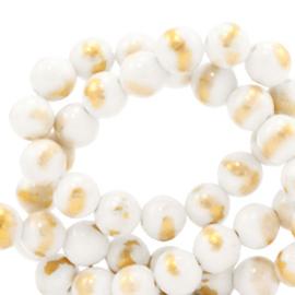 4 mm kralen natuursteen White gold per 10 st