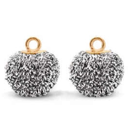 Bedels pompom glitter met oog 12mm Black silver-gold