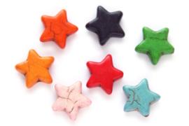Kralenmix, Ster, Keramiek Turquoise, 15mm, Multi Colour 4 st