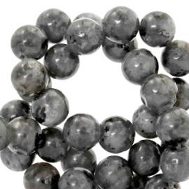 Halfedelsteen kraal rond 6mm agaat Anthracite black 44001 10 st.