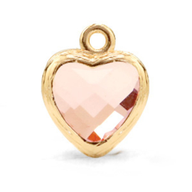 62927 Hanger van crystal glas heart Vintage pink-gold Per stuk