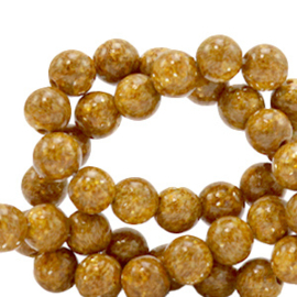 6 mm kralen natuursteen jade Caramel brown-gold 70423 10 st
