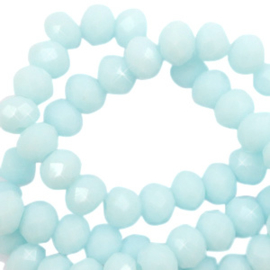 Facet kralen top quality disc 6x4 mm Bleached aqua blue-high shine coating 65579 10 st