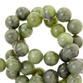 Halfedelsteen kraal rond 4mm agaat Olive green 44015 25 st