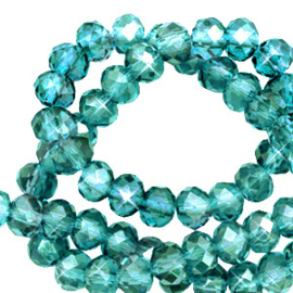 Facet kralen top quality disc 6x4 mm Viridian green-pearl shine coating 72226 10 st.