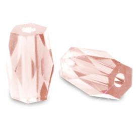 Top quality facet kralen tube Light rose 69823 10 st.