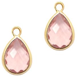 Hanger van crystal glas druppel 6x8mm 58729 Vintage pink crystal-gold Per stuk