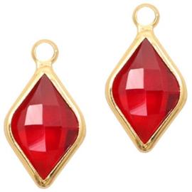 Hanger van crystal glas rhombus 10x14mm Red crystal-gold Per stuk