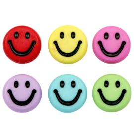 Acryl letterkralen smiley Multicolour per 10 st.