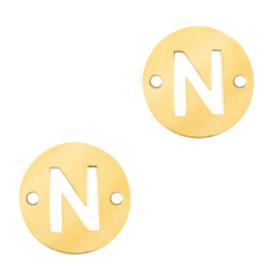 Bedel van  (RVS) 10mm initial coin N Goud tussenzetsel
