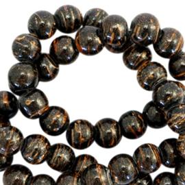 Glaskralen 6 mm drip-line Zwart glitter bruin 50 st