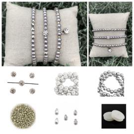 DIY Sieradenpakket Glasparels Zilver Grey strass 4mm