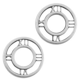 Metaal bedels DQ tussenstuk clock 12mm Antiek zilver (nikkelvrij)