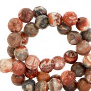 4 mm kralen natuursteen Peachy red mat 25 st