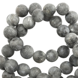 6 mm kralen natuursteen shine stone Anthracite mat 56883 10 st.