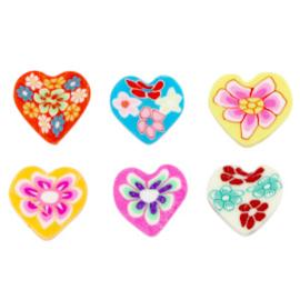 Polymeer Kraal Mix hartjes  Multicolour 5 st