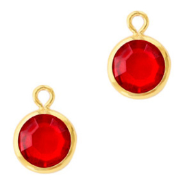 DQ Hanger van crystal glas rond 6mm Gold-Light siam red Per stuk