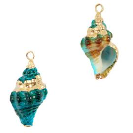 Schelp hanger special Wulk Ocean Blue Gold Per stuk 72067