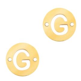 Bedel van  (RVS) 10mm initial coin G Goud tussenzetsel
