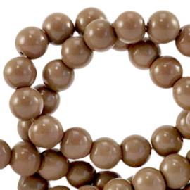 Glaskralen 4 mm opaque Rocky road brown 64817 40 st.