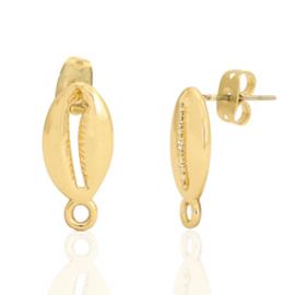 Metaal onderdelen DQ oorstekers shell met oogje Goud (nikkelvrij)