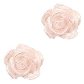 Roosje kralen 6mm Wit-light rose quartz pearl shine 5 stuks