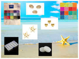 Lege Summer Kralenbox  + rol rijgdraad + Beach kralen