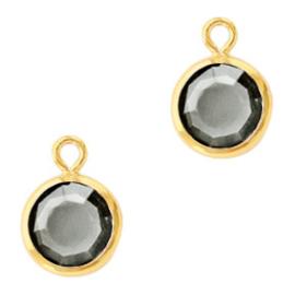 DQ Hanger van crystal glas rond 6mm Gold-Black diamond Per stuk 62296