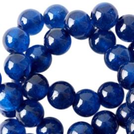 Jade ronde kraal natuursteen 6mm Midnight blue opal 35006 10 st.
