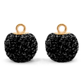 Bedels pompom glitter met oog 12mm Black-gold
