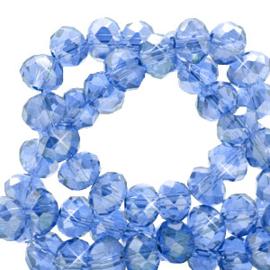 Facet kralen top quality disc 4x3 mm Cerulean blue-pearl shine coating, 10 stuks 72230