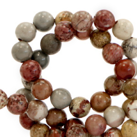 6 mm kralen natuursteen Multicolour stone red-brown 66105 10 st.