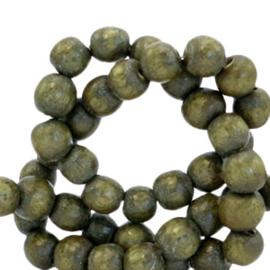 Houten kralen 4mm rond Olive green 69905 per 50 stuks