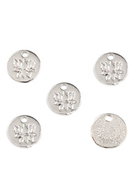 Bedeltje Lotus 8 mm 4 stuks zilver