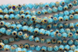 Millefiori Kralen Acqua blauw hart 8 mm per 10 stuks