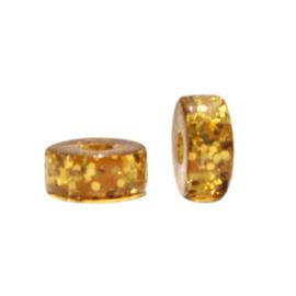 Polaris kralen disc 4mm Glitter Harvest gold 69966 per stuk