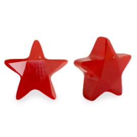 Facet fashion kralen ster Siam red per stuk
