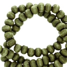 Houten kralen 4mm rond Olive green  4 gram 67851