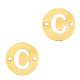Bedels van (RVS) 10mm initial Coin  C Goud tussenzetsel