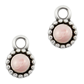DQ Pearl light pink Antique Silver  Bedel (nikkelvrij)