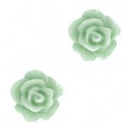 Roosje kralen 10 mm Green Sea per 4 stuks