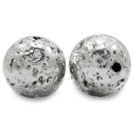 Kralen van hematite lava look Antique silver