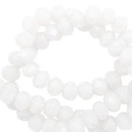 Facet kralen top quality disc 6x4 mm Brilliant white-pearl shine coating, 65630 10 st