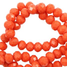 Facet kralen top quality disc 6x4 mm Tangerine tango red-pearl shine coating, 10 stuks 65604