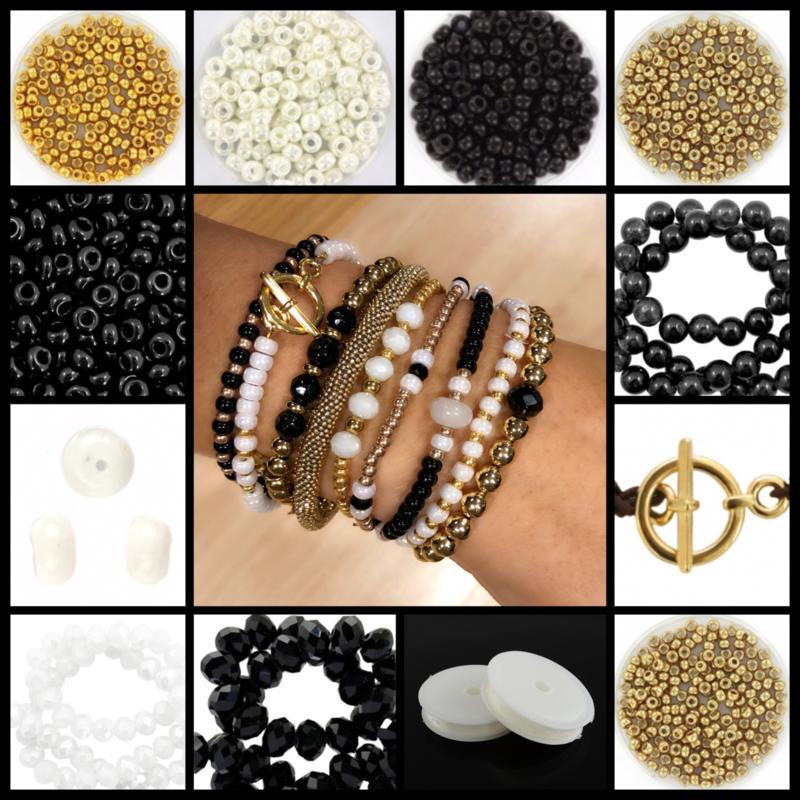 DIY Sieradenpakket Miyuki White Black Gold Luxe