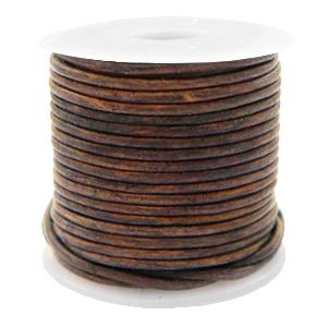 Leer DQ rond 1 mm Vintage taupe brown 1 meter