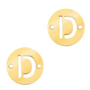 Bedel van  (RVS) 10mm initial coin D Goud tussenzetsel